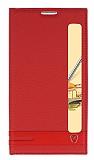 LG Stylus 2 / Stylus 2 Plus Gizli Mıknatıslı Pencereli Kırmızı Deri Kılıf