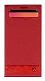 LG V20 Gizli Mıknatıslı Pencereli Kırmızı Deri Kılıf