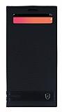 LG V20 Gizli Mıknatıslı Pencereli Siyah Deri Kılıf