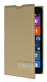 Microsoft Lumia 535 Gizli Mıknatıslı Yan Kapaklı Gold Deri Kılıf