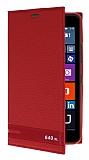 Microsoft Lumia 640 XL Gizli Mıknatıslı Yan Kapaklı Kırmızı Deri Kılıf