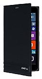Microsoft Lumia 640 XL Gizli Mıknatıslı Yan Kapaklı Siyah Deri Kılıf