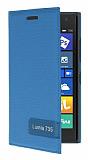 Nokia Lumia 735 Gizli Mıknatıslı Yan Kapaklı Mavi Deri Kılıf