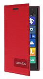 Nokia Lumia 735 Gizli Mıknatıslı Yan Kapaklı Kırmızı Deri Kılıf