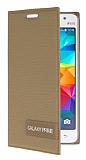 Eiroo Phantom Samsung Galaxy Grand Prime / Prime Plus Gizli Mıknatıslı Yan Kapaklı Gold Deri Kılıf