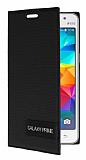 Eiroo Phantom Samsung Galaxy Prime / Prime Plus Gizli Mıknatıslı Yan Kapaklı Siyah Deri Kılıf