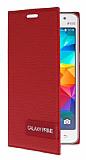 Eiroo Phantom Samsung Grand Galaxy Prime / Prime Plus Gizli Mıknatıslı Yan Kapaklı Kırmızı Deri Kılıf