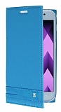 Samsung Galaxy A3 2017 Gizli Mıknatıslı Yan Kapaklı Mavi Deri Kılıf