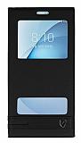 Samsung Galaxy A8 2016 Gizli Mıknatıslı Pencereli Siyah Deri Kılıf