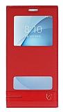 Eiroo Phantom Samsung Galaxy A8 2016 Gizli Mıknatıslı Pencereli Kırmızı Deri Kılıf