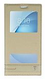 Eiroo Phantom Samsung Galaxy A8 2016 Gizli Mıknatıslı Pencereli Gold Deri Kılıf