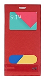 Samsung Galaxy A9 Gizli Mıknatıslı Pencereli Kırmızı Deri Kılıf