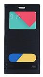 Samsung Galaxy A9 Gizli Mıknatıslı Pencereli Siyah Deri Kılıf