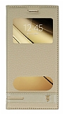 Samsung Galaxy C5 Gizli Mıknatıslı Pencereli Gold Deri Kılıf