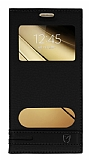 Eiroo Phantom Samsung Galaxy C7 SM-C7000 Gizli Mıknatıslı Pencereli Siyah Deri Kılıf