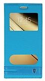 Eiroo Phantom Samsung Galaxy C7 SM-C7000 Gizli Mıknatıslı Pencereli Mavi Deri Kılıf