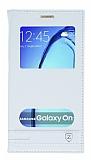 Samsung Galaxy On7 Gizli Mıknatıslı Pencereli Beyaz Deri Kılıf