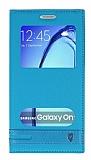 Samsung Galaxy On7 Gizli Mıknatıslı Pencereli Mavi Deri Kılıf