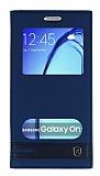 Eiroo Phantom Samsung Galaxy On7 Gizli Mıknatıslı Pencereli Lacivert Deri Kılıf