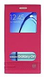 Eiroo Phantom Samsung Galaxy On7 Gizli Mıknatıslı Pencereli Pembe Deri Kılıf