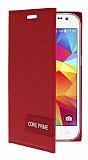 Samsung Galaxy Core Prime Gizli Mıknatıslı Yan Kapaklı Kırmızı Deri Kılıf
