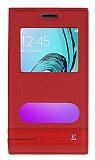 Samsung Galaxy J1 2016 Gizli Mıknatıslı Pencereli Kırmızı Deri Kılıf