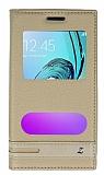 Samsung Galaxy J1 2016 Gizli Mıknatıslı Pencereli Gold Deri Kılıf