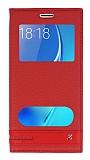 Eiroo Phantom Samsung Galaxy J5 2016 Gizli Mıknatıslı Pencereli Kırmızı Deri Kılıf