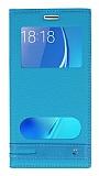 Samsung Galaxy J5 2016 Gizli Mıknatıslı Pencereli Mavi Deri Kılıf