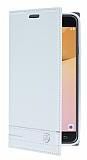 Eiroo Phantom Samsung Galaxy J5 Prime Gizli Mıknatıslı Yan Kapaklı Beyaz Deri Kılıf