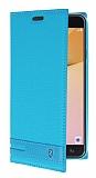 Eiroo Phantom Samsung Galaxy J5 Prime Gizli Mıknatıslı Yan Kapaklı Mavi Deri Kılıf