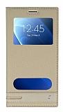 Samsung Galaxy J7 2016 Gizli Mıknatıslı Pencereli Gold Deri Kılıf