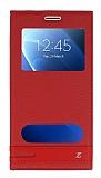 Samsung Galaxy J7 2016 Gizli Mıknatıslı Pencereli Kırmızı Deri Kılıf