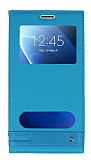 Samsung Galaxy J7 2016 Gizli Mıknatıslı Pencereli Mavi Deri Kılıf