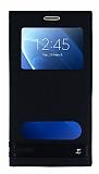 Samsung Galaxy J7 2016 Gizli Mıknatıslı Pencereli Siyah Deri Kılıf