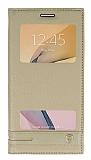 Samsung Galaxy J7 Prime / J7 Prime 2 Gizli Mıknatıslı Pencereli Gold Deri Kılıf
