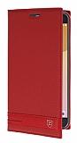 Eiroo Phantom Samsung Galaxy J7 Prime Gizli Mıknatıslı Yan Kapaklı Kırmızı Deri Kılıf