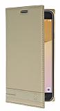 Eiroo Phantom Samsung Galaxy J7 Prime Gizli Mıknatıslı Yan Kapaklı Gold Deri Kılıf