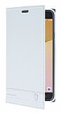 Eiroo Phantom Samsung Galaxy J7 Prime Gizli Mıknatıslı Yan Kapaklı Beyaz Deri Kılıf