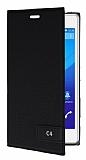 Sony Xperia C4 Gizli Mıknatıslı Yan Kapaklı Siyah Deri Kılıf
