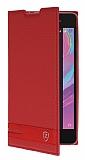Sony Xperia E5 Gizli Mıknatıslı Yan Kapaklı Kırmızı Deri Kılıf