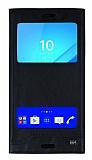 Sony Xperia M4 Aqua Gizli Mıknatıslı Pencereli Siyah Deri Kılıf