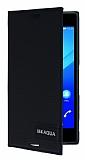 Sony Xperia M4 Aqua Gizli Mıknatıslı Yan Kapaklı Siyah Deri Kılıf