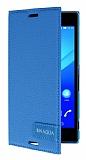 Sony Xperia M4 Aqua Gizli Mıknatıslı Yan Kapaklı Mavi Deri Kılıf