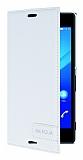 Sony Xperia M4 Aqua Gizli Mıknatıslı Yan Kapaklı Beyaz Deri Kılıf