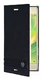 Sony Xperia X Gizli Mıknatıslı Yan Kapaklı Siyah Deri Kılıf