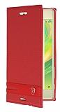 Sony Xperia X Gizli Mıknatıslı Yan Kapaklı Kırmızı Deri Kılıf