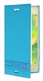 Sony Xperia X Performance Gizli Mıknatıslı Yan Kapaklı Mavi Deri Kılıf
