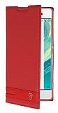Sony Xperia XA Gizli Mıknatıslı Yan Kapaklı Kırmızı Deri Kılıf