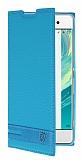 Sony Xperia XA Gizli Mıknatıslı Yan Kapaklı Mavi Deri Kılıf